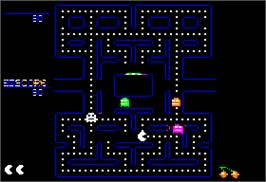 In game image of Pac-Man on the Apple II.
