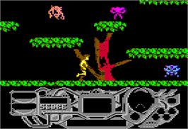 In game image of Rad Warrior on the Apple II.