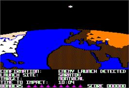In game image of Raid Over Moscow on the Apple II.