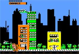 In game image of Rampage on the Apple II.