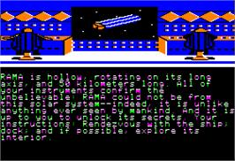 In game image of Rendezvous with Rama on the Apple II.