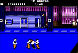 In game image of Renegade on the Apple II.