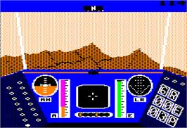 In game image of Rescue on Fractalus on the Apple II.