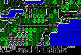 In game image of Roadwar 2000 on the Apple II.