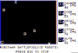 In game image of Robot War on the Apple II.