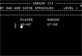 In game image of Sargon 3 on the Apple II.