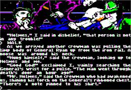 In game image of Sherlock Holmes: The Vatican Cameos on the Apple II.