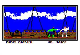 In game image of Sid Meier's Pirates on the Apple II.