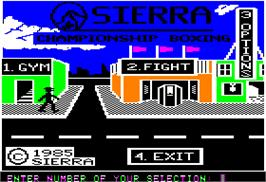 In game image of Sierra Championship Boxing on the Apple II.