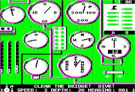 In game image of Silent Service on the Apple II.