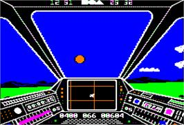 In game image of Sky Fox on the Apple II.