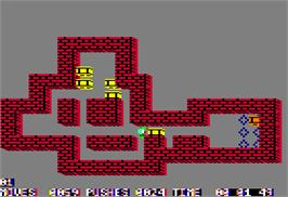 In game image of Sokoban on the Apple II.