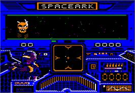 In game image of Space Quarks on the Apple II.