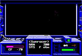 In game image of Space Rogue on the Apple II.