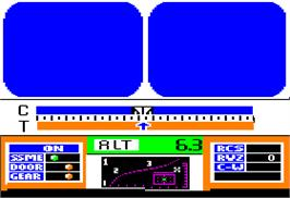 In game image of Space Shuttle: A Journey into Space on the Apple II.