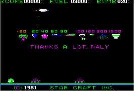 In game image of Star Blazer on the Apple II.