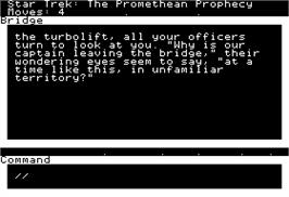 In game image of Star Trek The Promethean Prophecy on the Apple II.