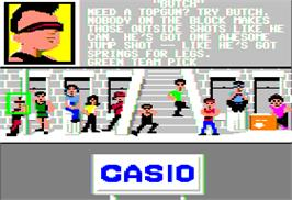 In game image of Street Sports Basketball on the Apple II.