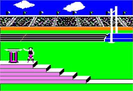In game image of Summer Games on the Apple II.