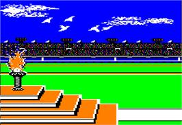 In game image of Summer Games 2 on the Apple II.