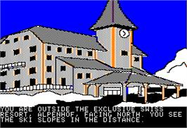 In game image of The Alpine Encounter on the Apple II.