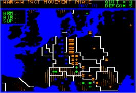 In game image of Theatre Europe on the Apple II.