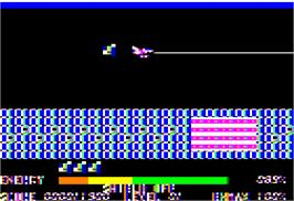 In game image of Thexder on the Apple II.