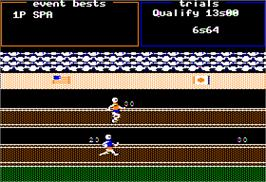 In game image of Track & Field on the Apple II.