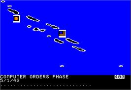 In game image of War in the South Pacific on the Apple II.