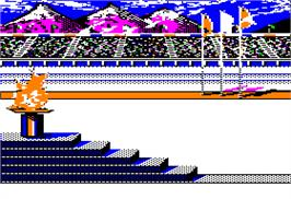 In game image of Winter Games on the Apple II.