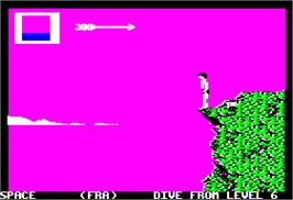 In game image of World Games on the Apple II.
