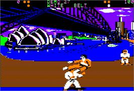 In game image of World Karate Championship on the Apple II.