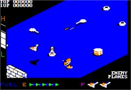 In game image of Zaxxon on the Apple II.