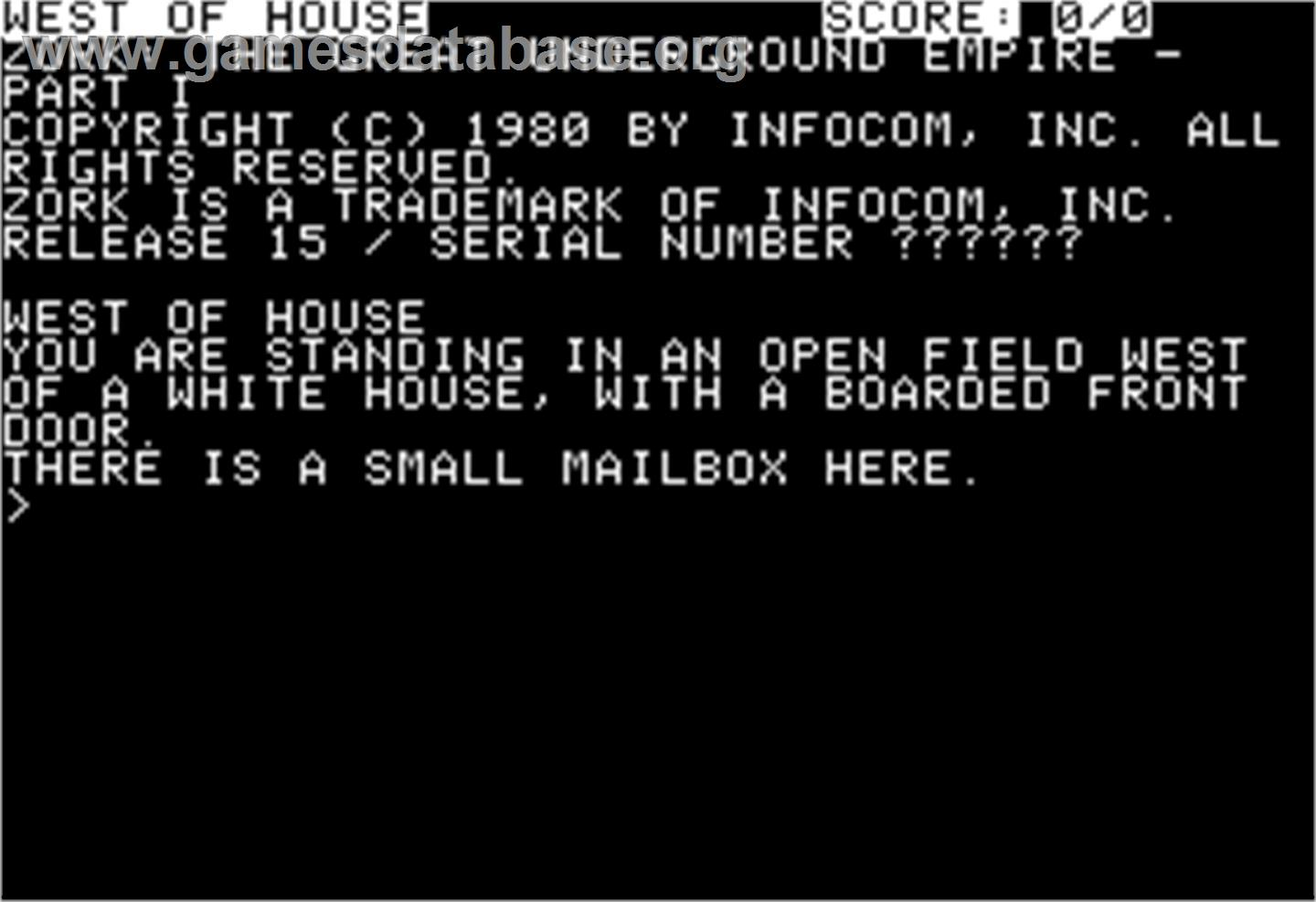In game image of Zork I: The Great Underground Empire on the Apple II.