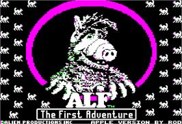Title screen of ALF: The First Adventure on the Apple II.