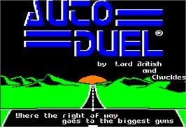 Title screen of Auto Duel on the Apple II.