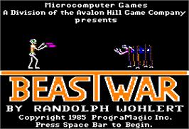 Title screen of Beast War on the Apple II.