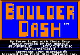 Title screen of Boulder Dash on the Apple II.