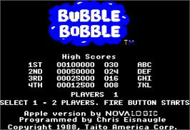 Title screen of Bubble Bobble on the Apple II.