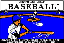Title screen of Championship Baseball on the Apple II.