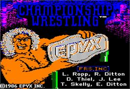Title screen of Championship Wrestling on the Apple II.