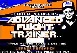 Title screen of Chuck Yeager's Advanced Flight Trainer on the Apple II.