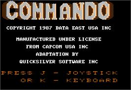 Title screen of Commando on the Apple II.