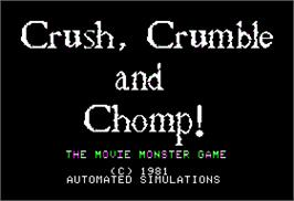 Title screen of Crush, Crumble and Chomp on the Apple II.