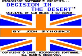 Title screen of Decision in the Desert on the Apple II.