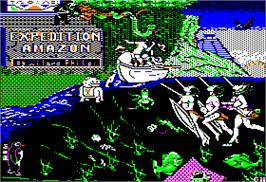 Title screen of Expedition Amazon on the Apple II.
