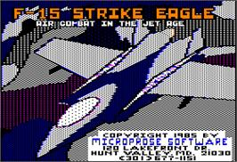 Title screen of F-15 Strike Eagle on the Apple II.