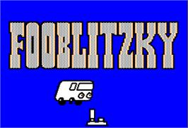 Title screen of Fooblitzky on the Apple II.