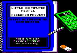 Title screen of Little Computer People on the Apple II.
