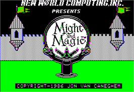 Title screen of Might and Magic: Secret of the Inner Sanctum on the Apple II.
